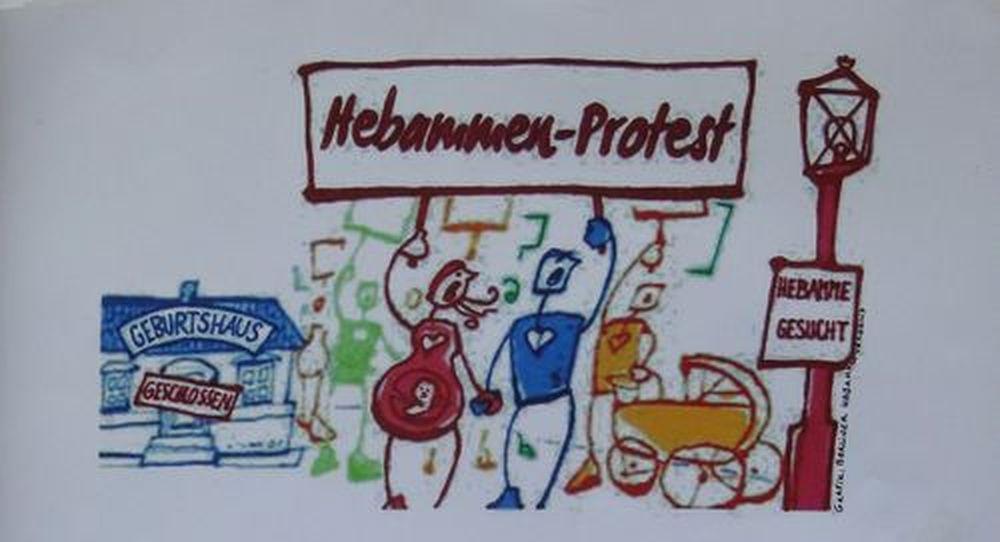 Hebammen-Protest am Alaunplatz