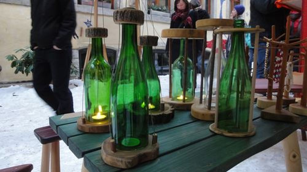 Flaschenkerzen auf dem Nikolausmarkt