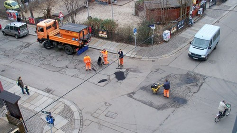 Städtische Flicktruppe im Einsatz