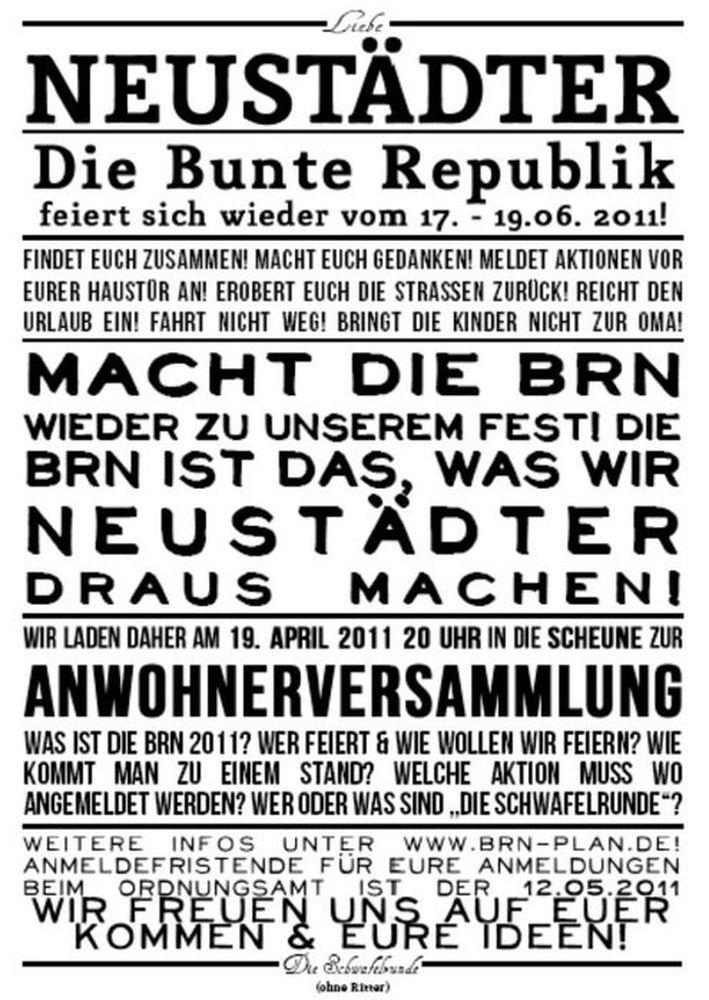 BRN-Plakat der Schwafelrunde