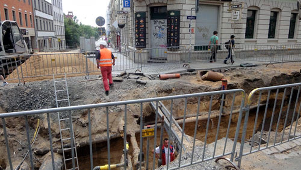 Baugrube auf der Alaunstraße